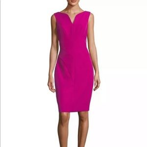 MILLY | Fuchsia Seamed Midi Sheath Dress NWT